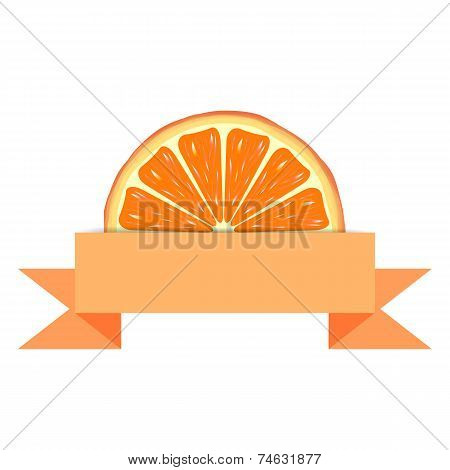 Orange slice  with paper banner