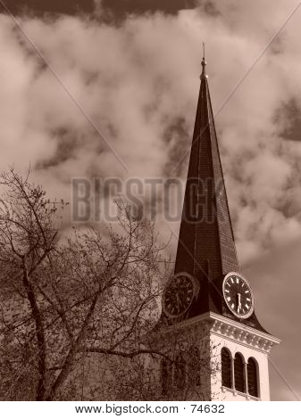 Steeple Of Old New England Church