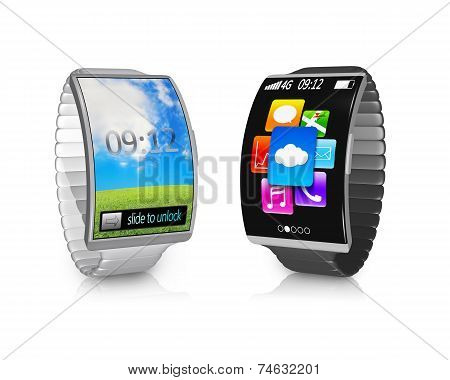 Pair Ultra-thin Bent Interface Smartwatch With Metal Watchband