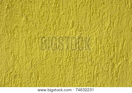 Yellow Relief Plaster On Wall Closeup