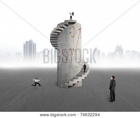 Businessman Watching Men With Doodles Concrete Spiral Tower