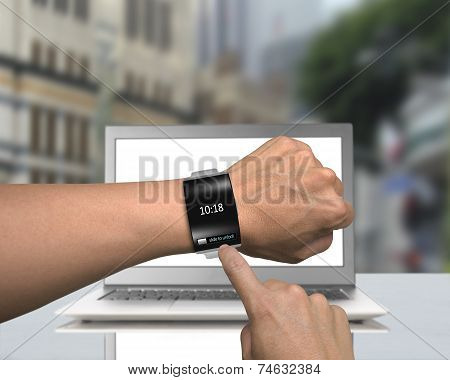 Man Hand Wearing Black Glass Smartwatch With Bent Interface