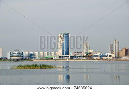 Kazan,Tatarstan,Russia - September 27: View of the river Kazanka and New Savinovskij district.