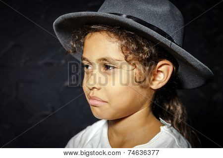 Cute Little African-american Girl In Hat