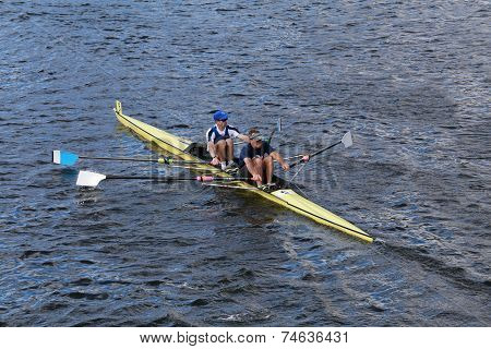 CBC rowing with Eric Lev and Joe Linhoff race in the Head of Charles Regatta