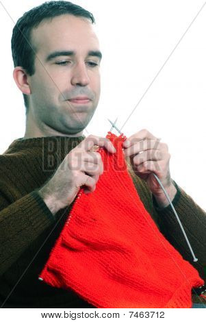 Man Knitting