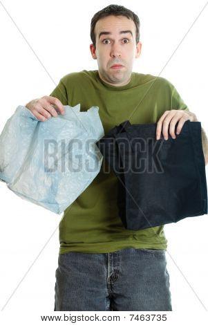 Tuch oder Plastiktüten
