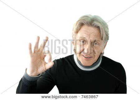Senior Shows Okay Sign Isolated