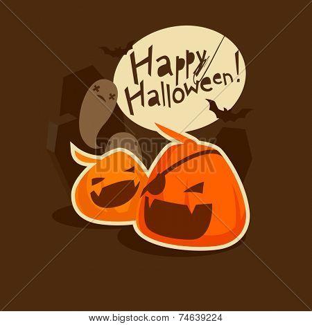 Halloween grinning pumpkins