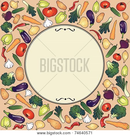 label round frame with vegetables eggplant garlic onion broccoli