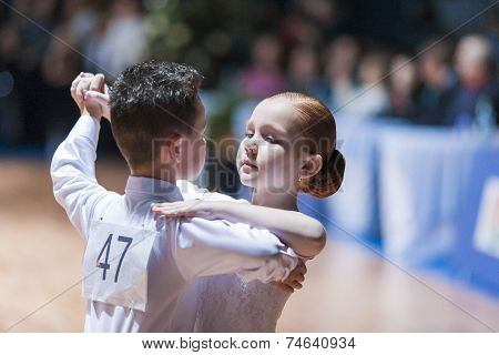 Minsk-belarus, October 18, 2014: Unidentified Dance Couple Performs Juvenile-1 Standard European Pro