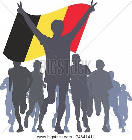 Winner with the Belgium flag at the finish