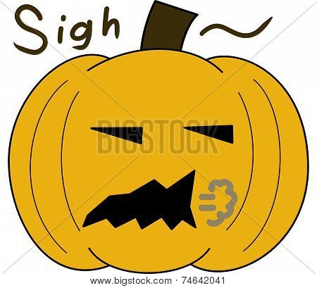 pumpkin face cartoon emotion expression sigh
