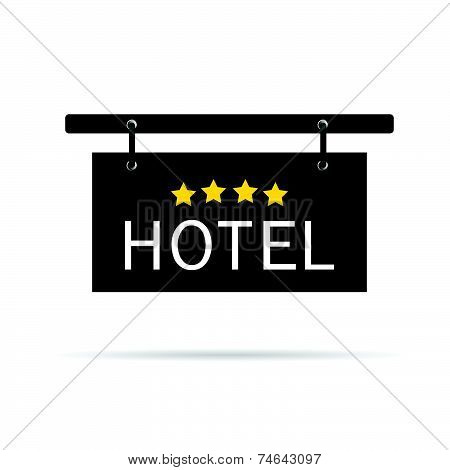 Hotel Signboard With Four Star Vector Illustration