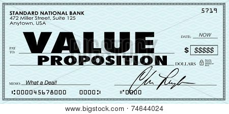 Value Proposiiton words on a check to illustrate benefits of buying products or services in a special savings offer from a business or company