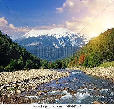 Landscape With River And Mountain