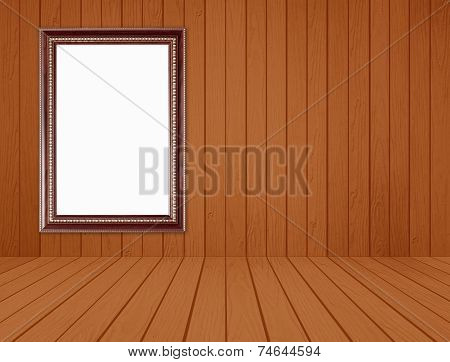 Wood Frame In Room With White Wood Wall And Wood Floor Background