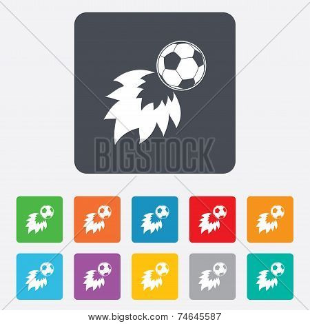Football fireball sign icon. Soccer Sport symbol