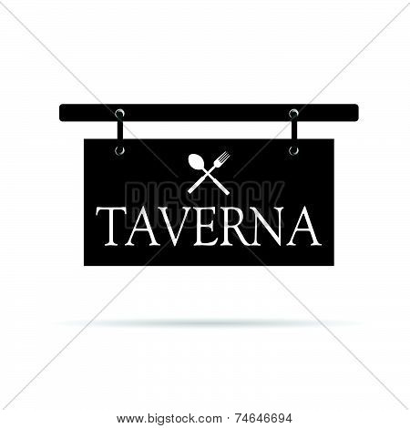 Signboard For Taverna Vector Illustration