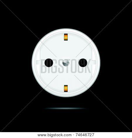 Socket On Black Background Vector Illustration
