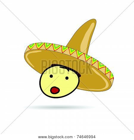 Sombrero Hat On Head Illustration