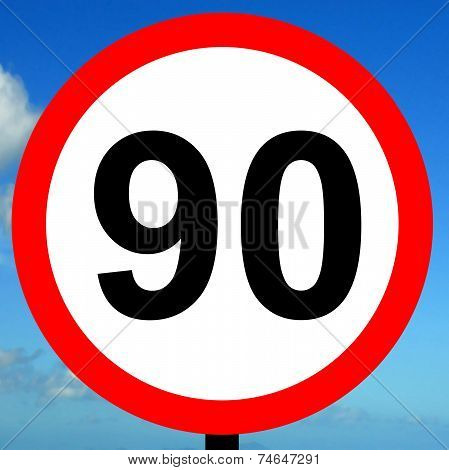 90 kpm speed limit road traffic sign.