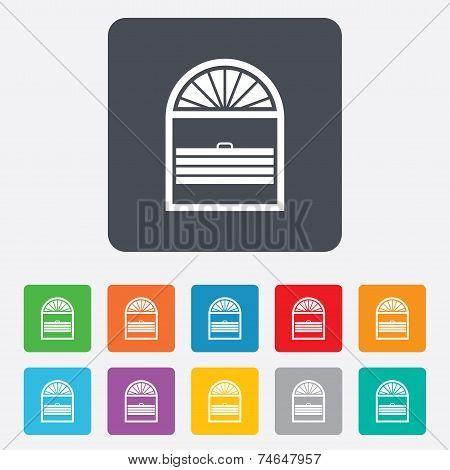 Louvers plisse sign icon. Window blinds jalousie