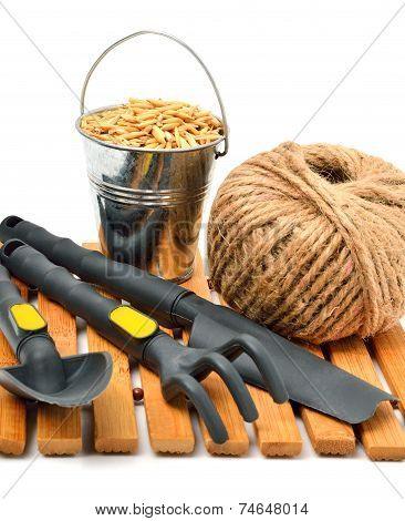 Garden Supplies, Wheat Grains, Rake, Pot, Shovel