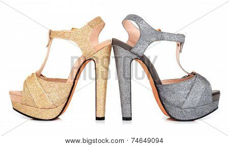 Golden And Grey Luminous Woman Shoes