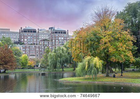 Fall Colors Boston Common And Public Garden, Boston Usa