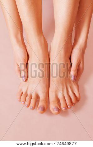 Female sunburnt feet