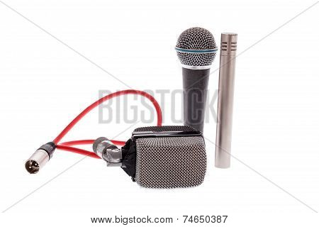Studio Recording Groups Of Vintage  Microphones On White Background