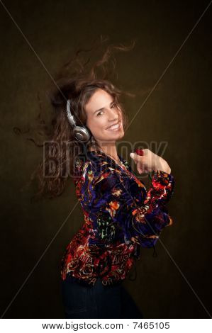 Woman With Personal Listening Device