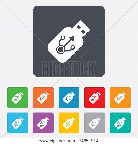 Usb sign icon. Usb flash drive stick symbol.
