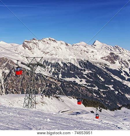 Cable Car Railway On Winter Sport Resort In Swiss Alps