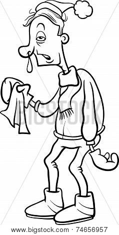 Man With Flu Cartoon Coloring Page