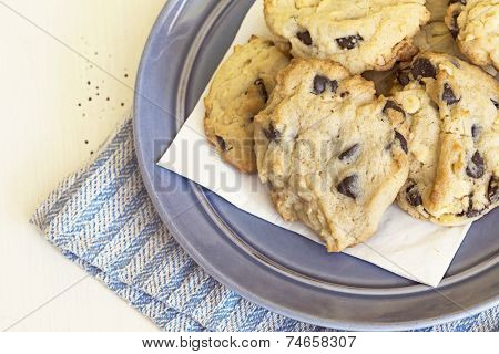 Chocolate chip cookies in natural light