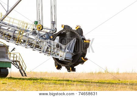 Opencast Brown Coal Mine. Bucket Wheel Excavator.