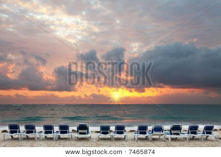Sunrise On Tropical Beach