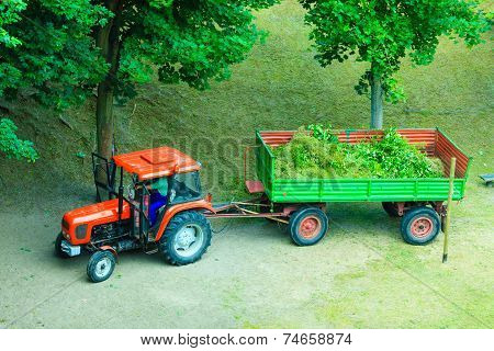 Works In Public Park, Tractor With Trailer