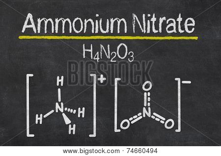 Blackboard with the chemical formula of Ammonium Nitrate