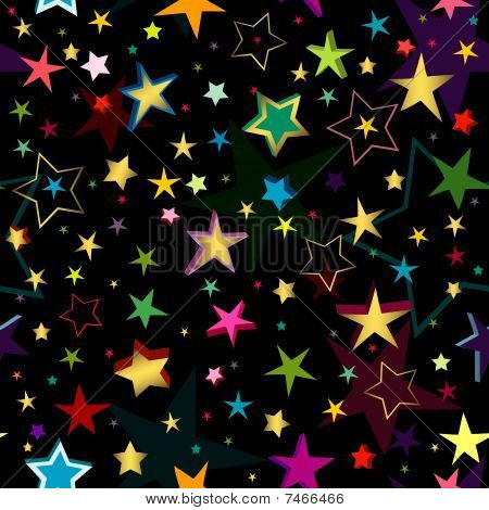 Black seamless pattern with stars (vector)