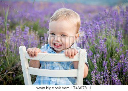 Happy Baby Boy In Lavender