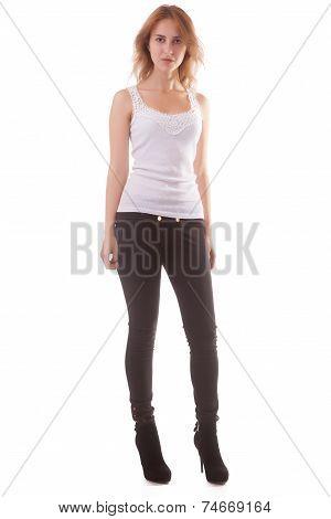 Full Body Girl Posing In Studio On White Background