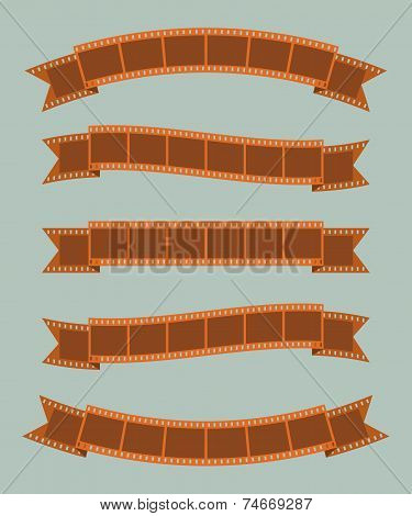 Film strips banner ribbon set
