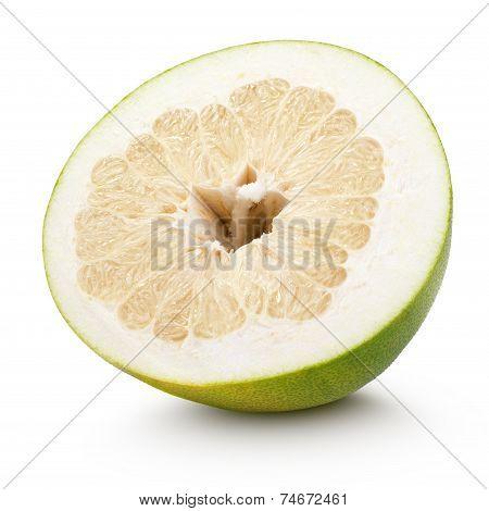 Half Pomelo Citrus Fruit Isolated On White