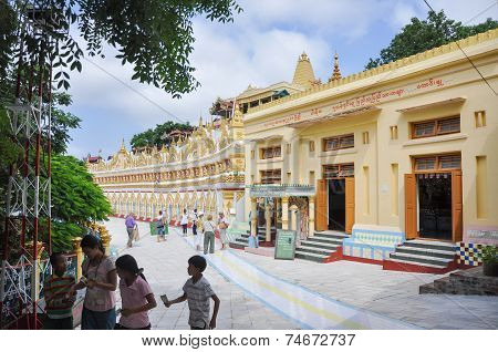 Sagaing, Myanmar- October 9, 2013: Tourist Visit U Min Thonze Pagoda