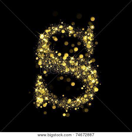 Sparkling Letter S on black background. Alphabet of golden glittering stars (glittering font concept). Christmas holiday illustration of bokeh shining stars character..