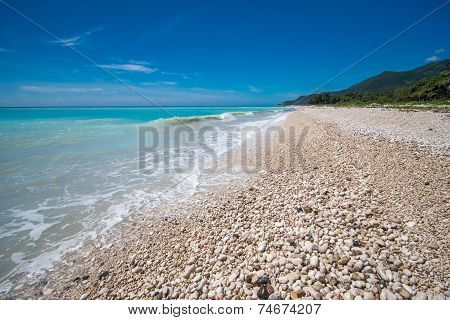 Dream rocky beach near Paraiso Barahona Peninsula in Dominican Republic