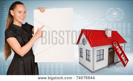 Businesswoman hold paper sheet. House with label